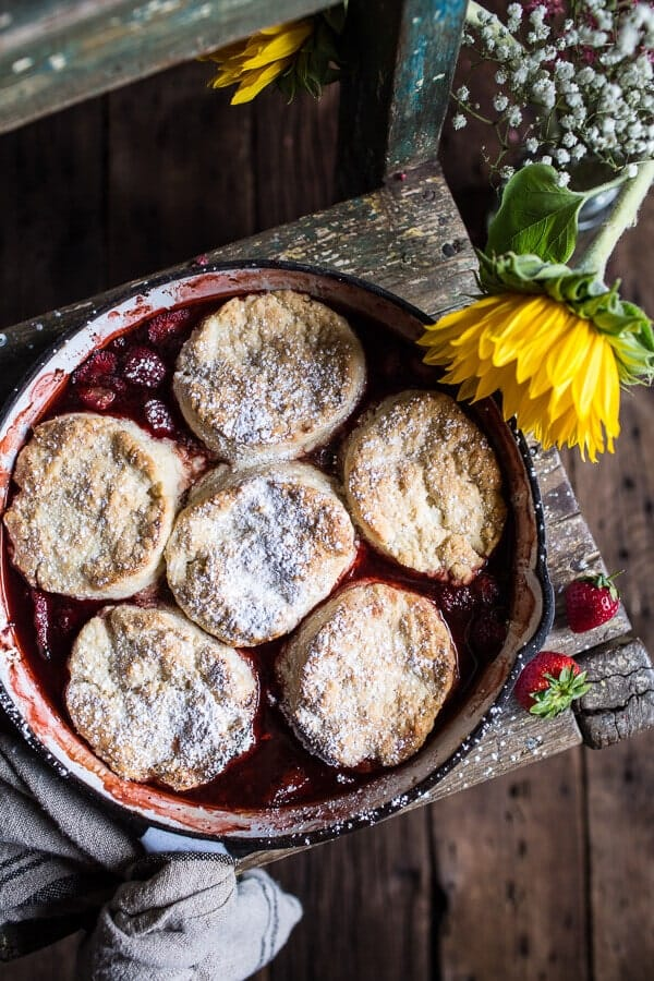 Skillet Strawberry Cobbler with Cream Cheese Swirled Biscuits | halfbakedharvest.com @hbharvest