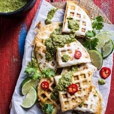 Spicy Pork Al Pastor Quesadillas with Roasted Tomatillo Salsa Verde.