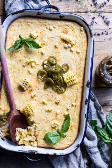 Sweet Kentucky Bourbon Corn Pudding with Candied Jalapeños.