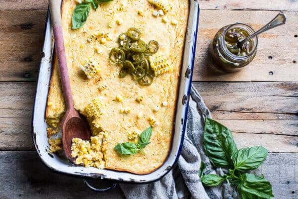 Sweet Kentucky Bourbon Corn Pudding with Candied Jalapeños | halfbakedharvest.com @hbharvest