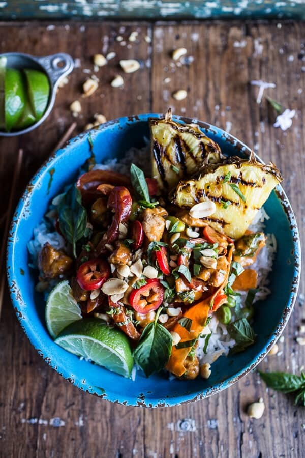 30 Minute Sweet Thai Chili Peanut Chicken and Grilled Pineapple Stir Fry | halfbakedharvest.com @hbharvest