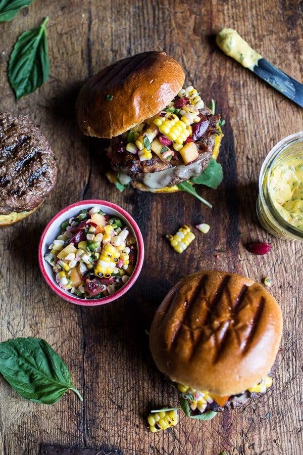 Brie Stuffed Burgers with Sweet Chili Corn Salsa | halfbakedharvest.com @hbharvest