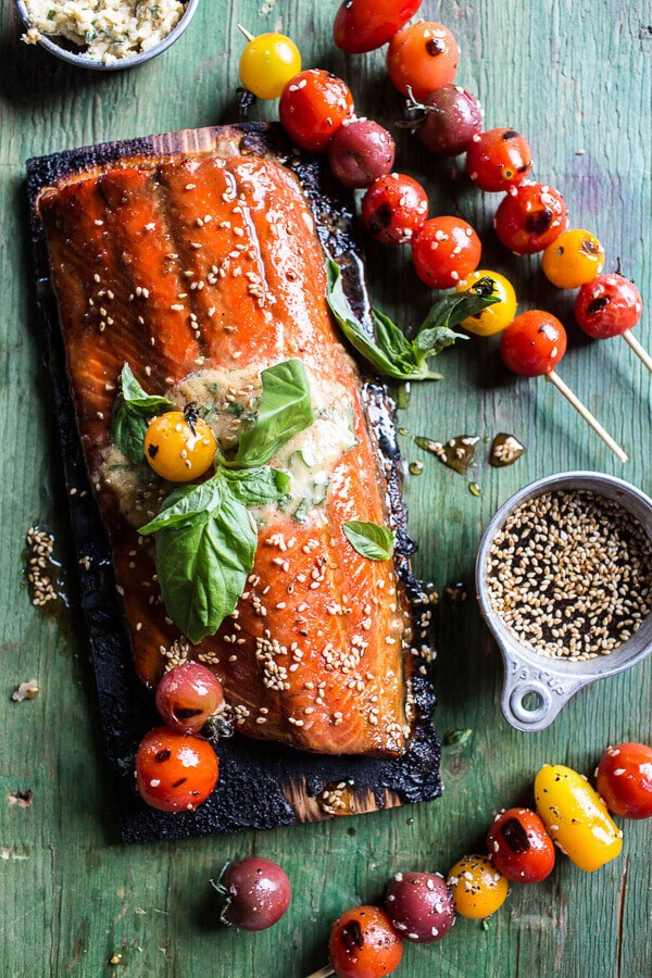 Cedar Plank Grilled Sesame Salmon with Kimchi Miso Butter and Grilled Tomatoes | halfbakedharvest.com @hbharvest