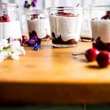 Cherry and Goat's Milk Coconut Mousse.