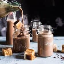 Chocolate Almond Milk with Creamy Malted Coffee Ice Cubes.