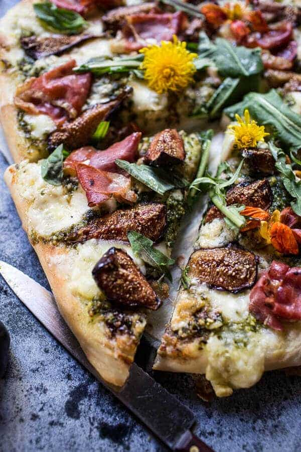 Dandelion Green Pesto, Fresh Fig and Gorgonzola Pizza with Prosciutto | halfbakedharvest.com @hbharvest