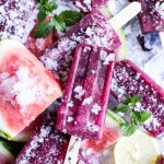 Hibiscus and Minty Watermelon Popsicles.