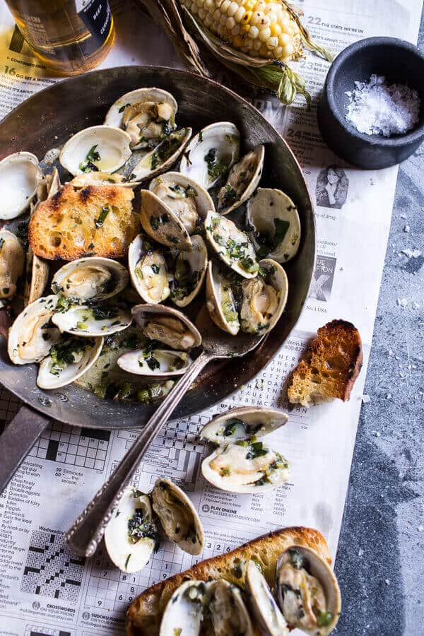 Grilled Clams with Charred Jalapeño Basil Butter | Grilled Seafood Recipes For Your Next Seafood Feast
