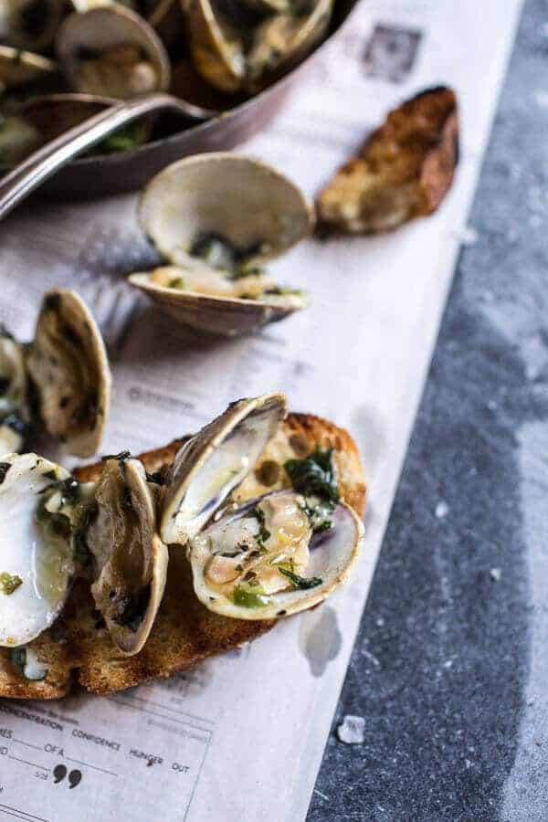 Grilled Clams with Charred Jalapeño Basil Butter | halfbakedharvest.com @hbharvest