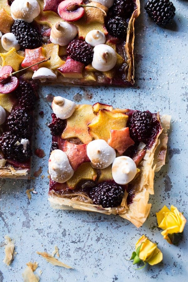 Honey Butter Stone Fruit and Blackberry Meringue Tart | halfbakedharvest.com @hbharvest