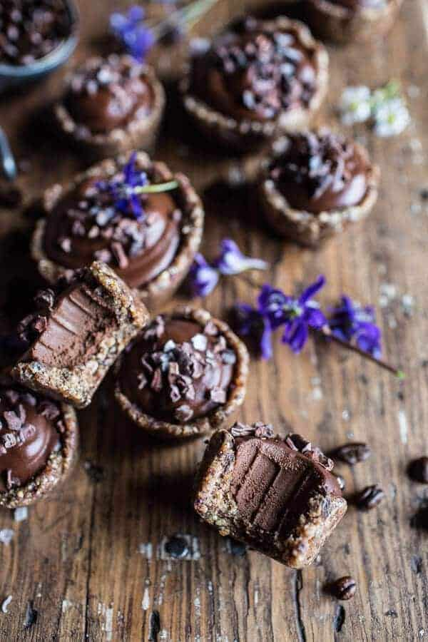 Mini Vegan No-Bake Chocolate Mocha Fudge and Coconut Tarts | halfbakedharvest.com @hbharvest