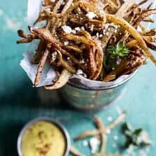 Skinny Greek Feta Fries with Roasted Garlic Saffron Aioli.