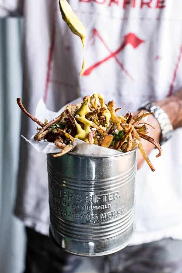 Skinny Greek Feta Fries with Roasted Garlic Saffron Aioli ...