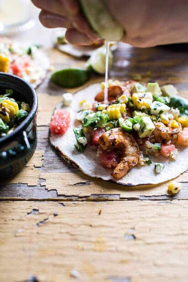 Zesty Grilled Shrimp Tacos with South of the Border Corn and Cotija Salsa | halfbakedharvest.com @hbharvest