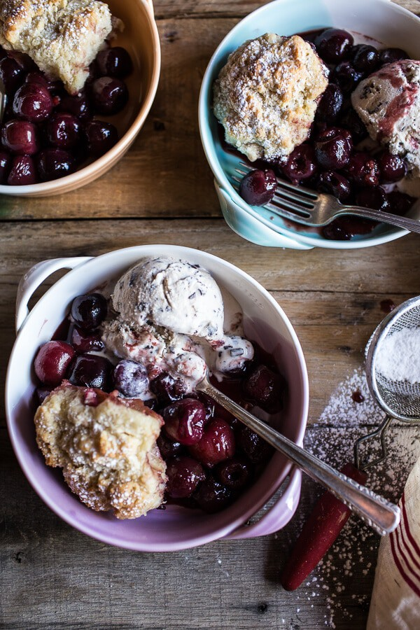 Cherry Cobbler with Honey Butter Vanilla Bean Biscuits + LINKS.