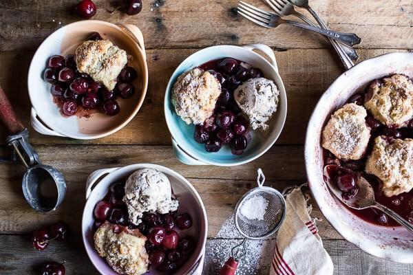 Cherry Cobbler with Honey Butter Vanilla Biscuits + LINKS | halfbakedharvest.com @hbharvest