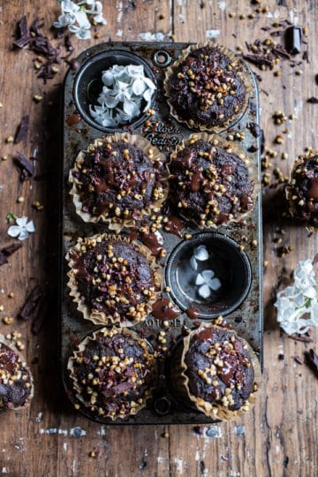Double Chocolate Coconut oil Zucchini Muffins with Caramelized Buckwheat.