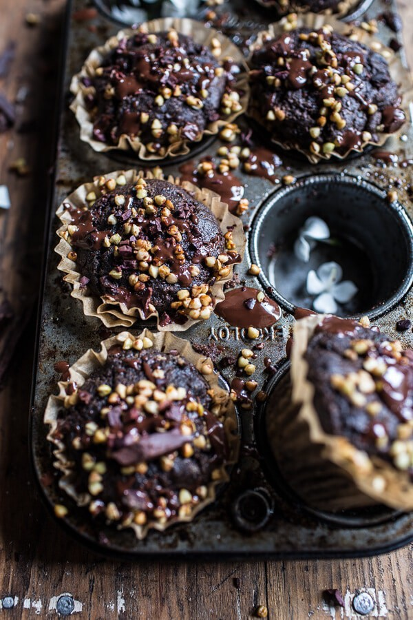 Double Chocolate Coconut oil Zucchini Muffins with Caramelized Buckwheat | halfbakedharvest.com @hbharvest