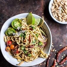Firey Szechuan Peanut and Chili Zucchini Noodles.