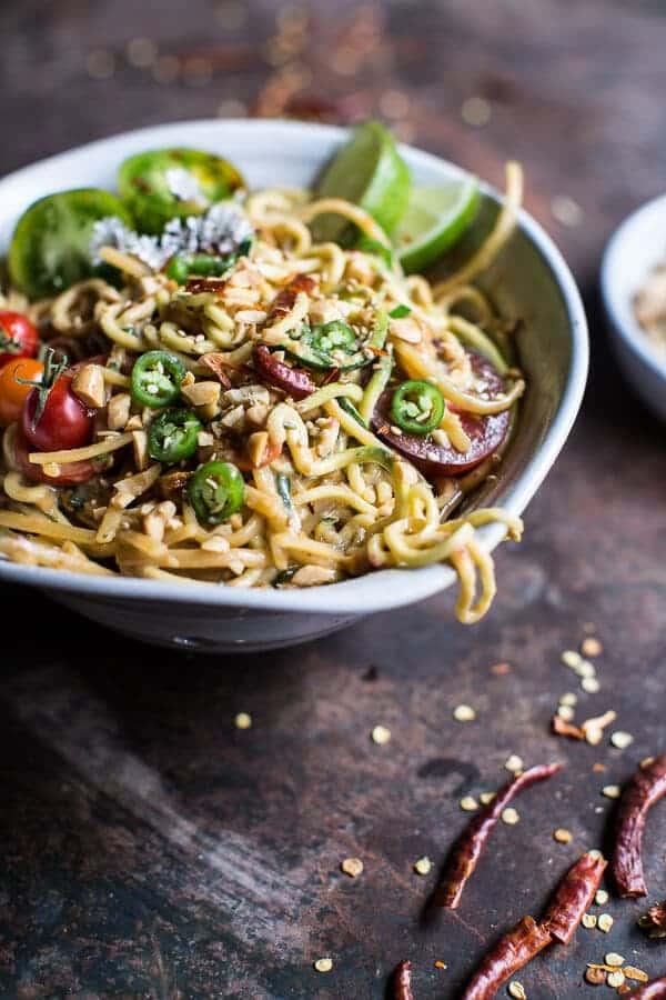 Firey Szechuan Peanut and Chili Zucchini Noodles | halfbakedharvest.com @hbharvest