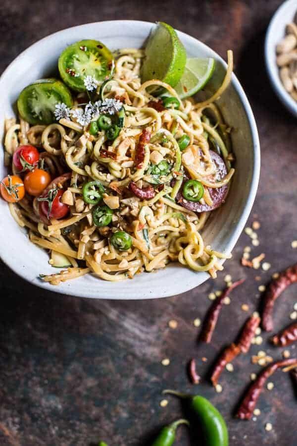 Firey Schezwan Peanut and Chili Zucchini Noodles | halfbakedharvest.com @hbharvest