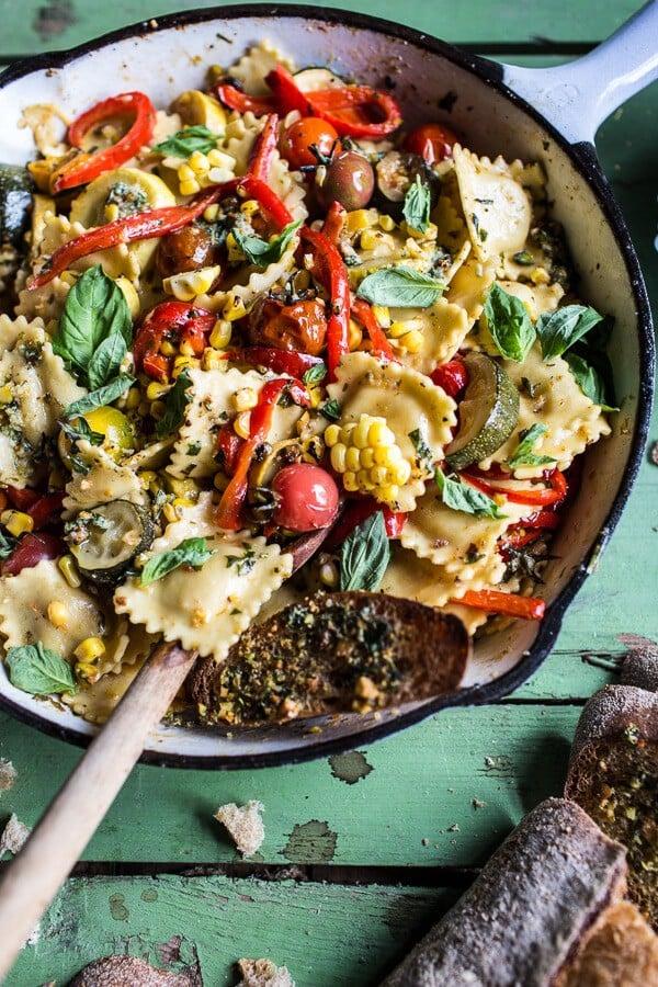 Garden Veggie and Ravioli Skillet with Pistachio Herb Butter | halfbakedharvest.com @hbharvest