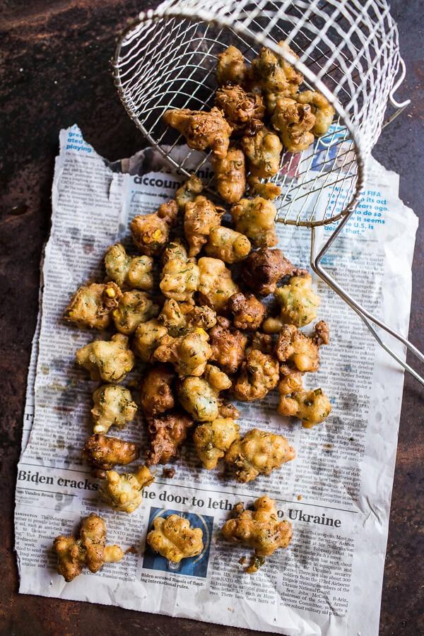 Goat Milk Fettuccine with Spicy Corn Fritters + Sweet Nectarine | halfbakedharvest.com @hbharvest