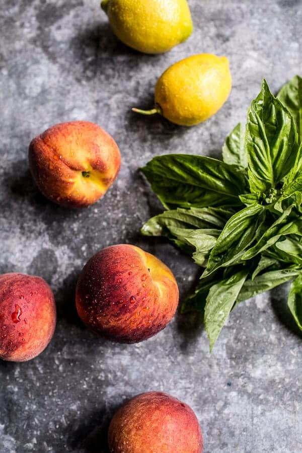 Grilled Peach and Basil Arnold Palmer…with or without Bourbon | halfbakedharvest.com @hbharevst
