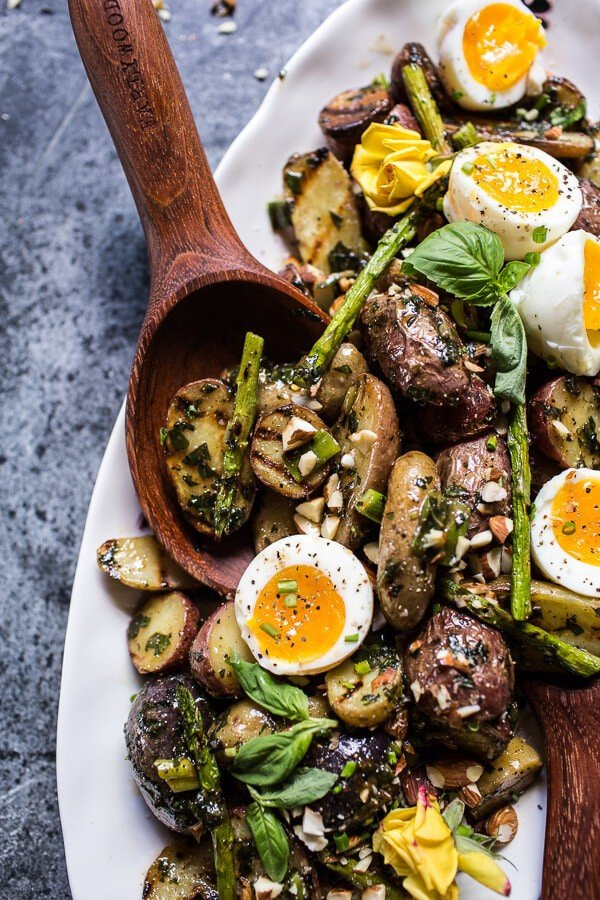 Grilled Potato Salad with Almond-Basil Chimichurri and 7-Minute Eggs | halfbakedharvest.com @hbharvest
