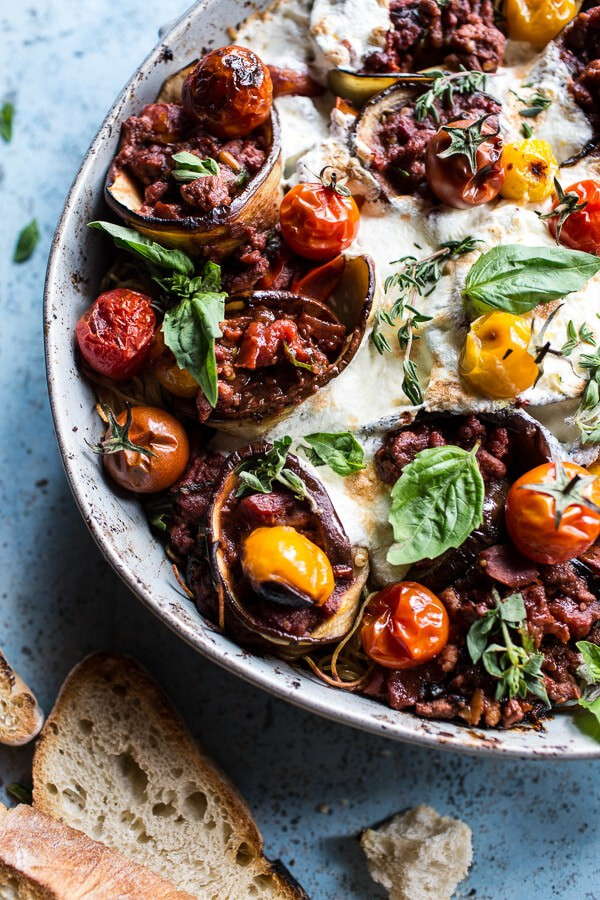 Italian Turkey and Tomato Basil Eggplant Roll Pasta Bake ...