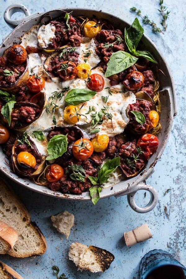 Italian Turkey and Tomato Basil Eggplant Roll Pasta Bake | halfbakedharvest.com @hbharvest