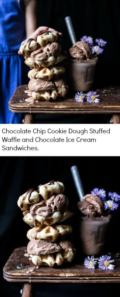Chocolate Chip Cookie Dough Stuffed Waffle and Chocolate Ice Cream Sandwiches | halfbakedharvest.com @hbharvest