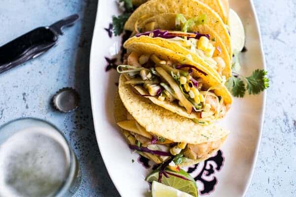 Seafood Tacos with Lime-Green Chile Sauce + Grilled Corn Slaw | halfbakedharvest.com @hbharvest