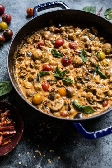 Simple Almond Chicken, Chickpea and Eggplant Curry.