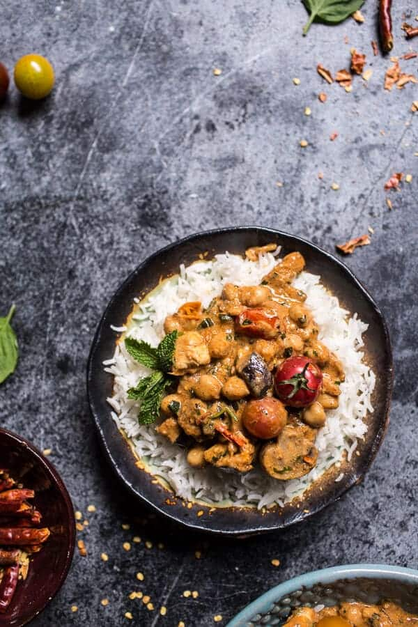 Simple Almond Chicken, Chickpea and Eggplant Curry | halfbakedharvest.com @hbharvest