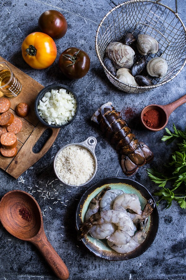Skillet Grilled Seafood and Chorizo Paella | halfbakedharvest.com @hbharvest