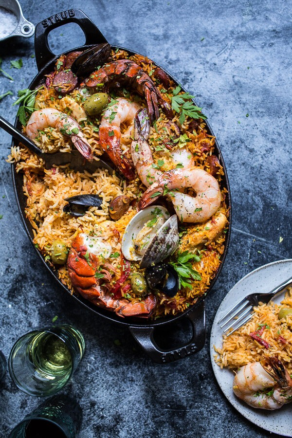 Skillet Grilled Seafood and Chorizo Paella | halfbakedharvest.com @ ...