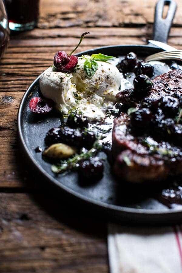 Smoked Ancho Chile Salted Steaks with Drunken Burst Sweet Cherries + Burrata | @hbharvest