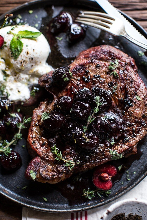 Smoked Ancho Chile Salted Steaks with Drunken Burst Sweet Cherries + Burrata | @hbharvest
