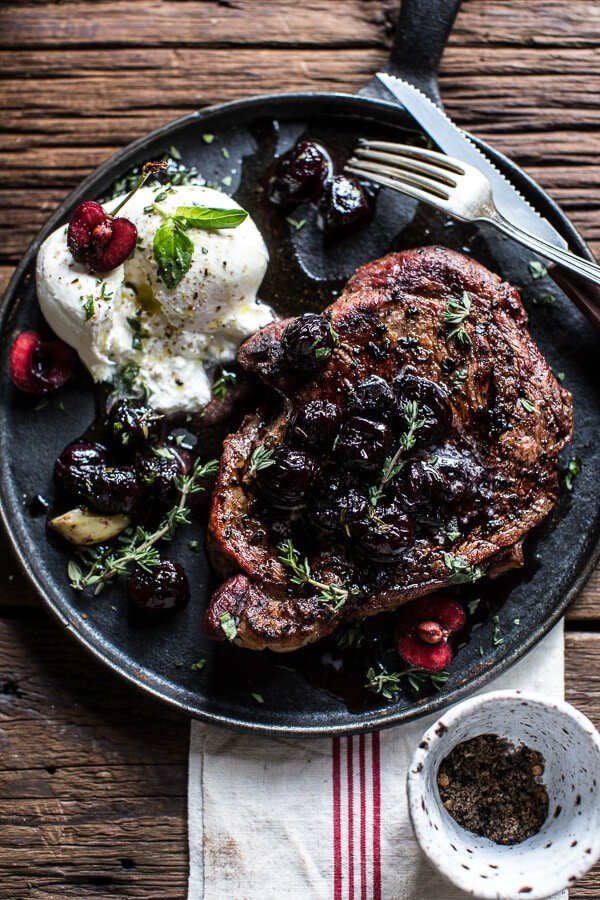 Smoked Ancho Chile Salted Steaks with Drunken Burst Sweet Cherries + Burrata-6