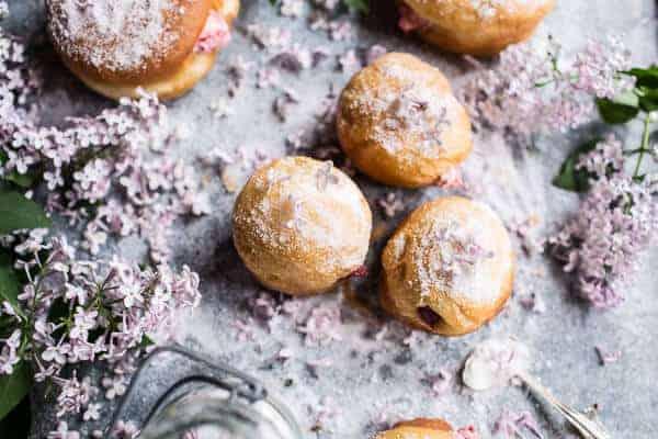 Strawberry Jelly and Vanilla Cream Brioche Doughnuts with Lilac Sugar ...