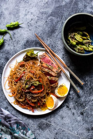 30 Minute Korean Stir Fried Shishito Pepper Rainbow Veggie Noodles with Seared Tuna.