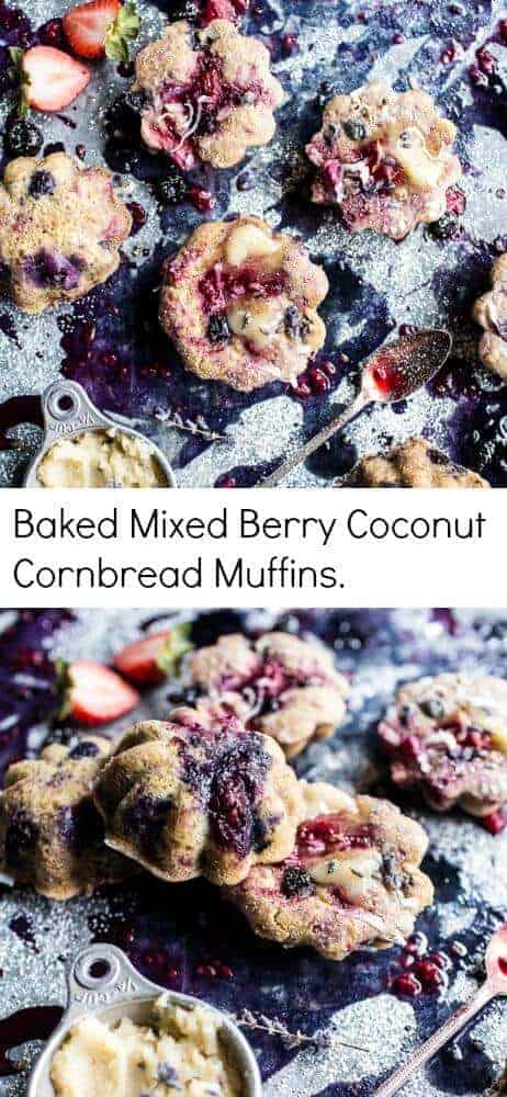 Baked Mixed Berry Coconut Cornbread Muffins | halfbakedharvest.com @hbharvest
