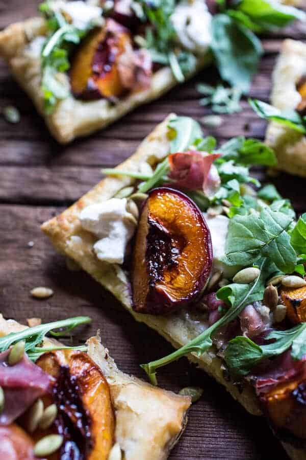 Balsamic Roasted Peach, Basil Chicken and Prosciutto Tarts | halfbakedharvest.com @hbharvest