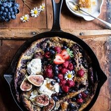 Blueberry Chamomile Dutch Baby with Honeycomb Ricotta.