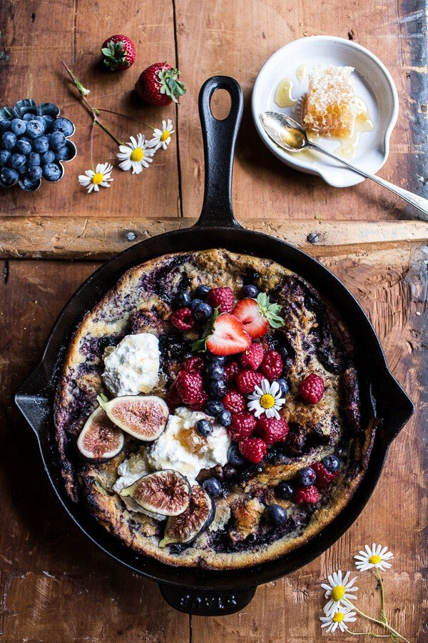 Blueberry Chamomile Dutch Baby with Honeycomb Ricotta | halfbakedharvest.com @hbharvest