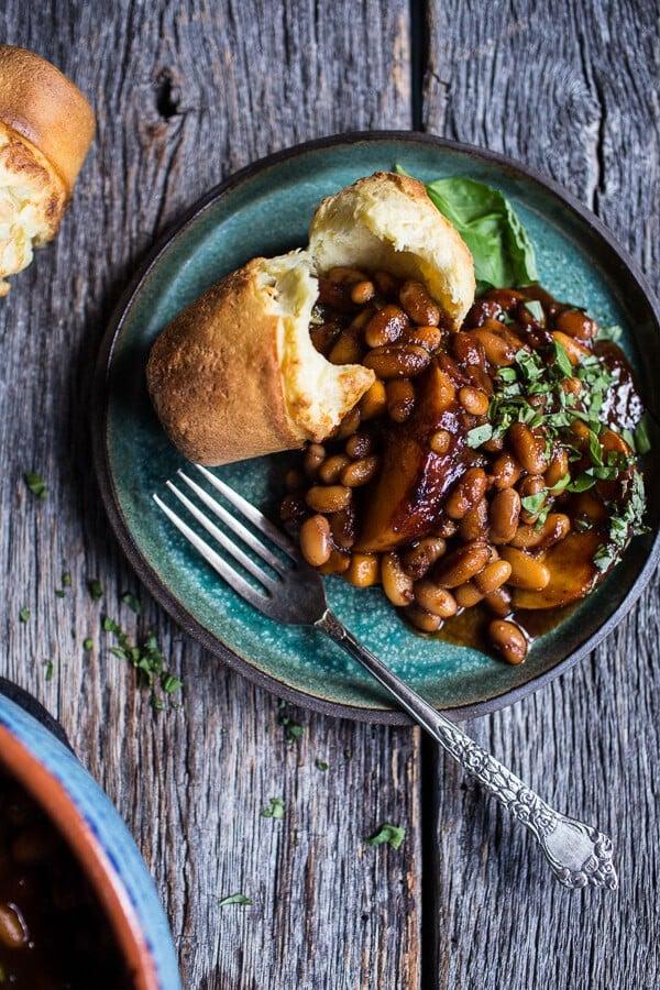 Bourbon Peach BBQ Baked Beans | halfbakedharvest.com @hbharvest