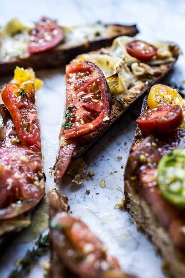 Buttered Brie and Heirloom Tomato Toast with Honey, Thyme + Walnuts | halfbakedharvest.com @hbharvest