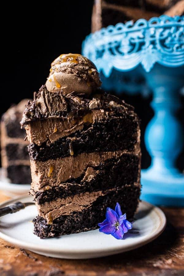 Chocolate Bourbon Caramel Macaron Cake| halfbakedharvest.com @hbharvest
