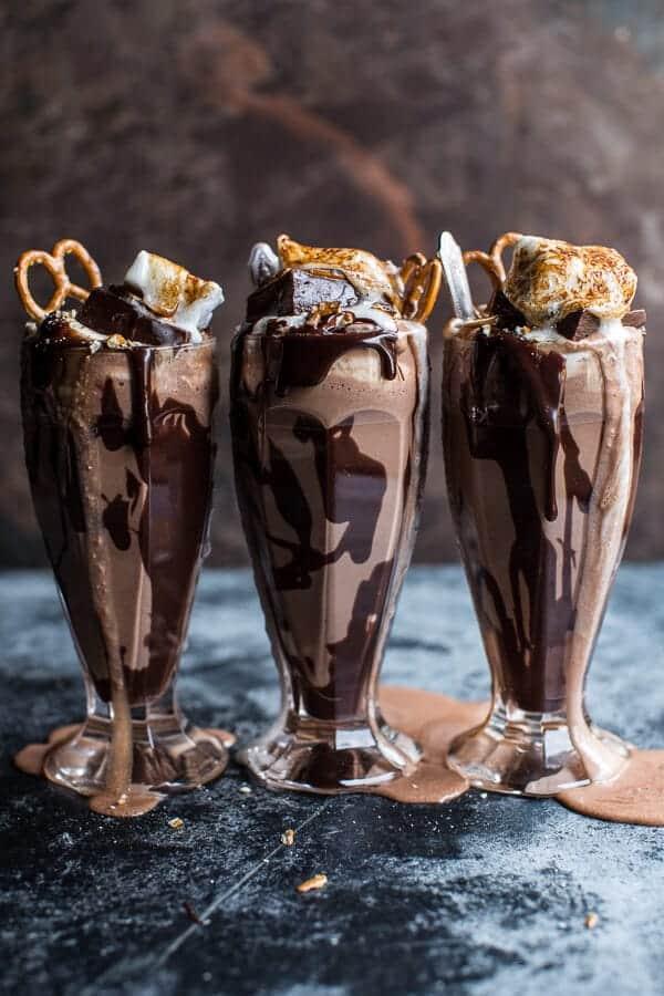 Salted Pretzel Nutella Fudge Milkshake with Malted Milk Whipped Cream | halfbakedharvest.com @hbharvest
